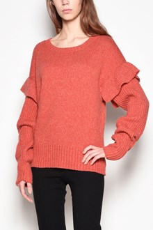 AGNONA Crew-neck sweater with  frilled sleeves