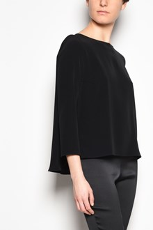 GIANLUCA CAPANNOLO 'Julie top' crew-neck techno satin blouse with 3/4 sleeves