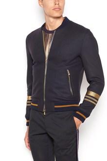 DOLCE & GABBANA Zipped stretch jacket with gold inserts