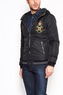 DOLCE & GABBANA Zipped hooded nylon bomber jacket with 'Cross of Malta' patch