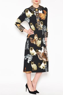 DOLCE & GABBANA 'Cats' printed cady dress with long sleeves