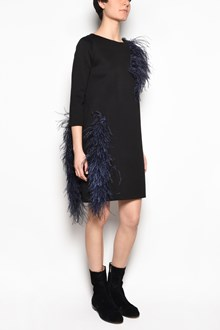 GIANLUCA CAPANNOLO 'Vanessa' 3/4 sleeves dress with contrast blue plumage insert