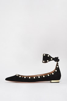 AQUAZZURA 'Harlow flat' leather studded flats with pearls