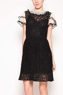 REDVALENTINO Macramè dress with hearts and valance in the collar and in the sleeves
