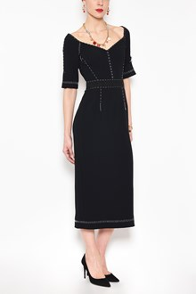 DOLCE & GABBANA 1/2 sleeves cady dress with contrast details