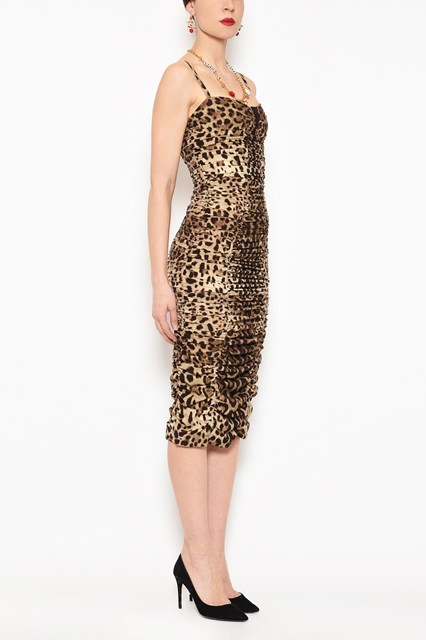 68288f28 DOLCE & GABBANA 'Leopard' all over printed stretch cady 'Bustier' dress