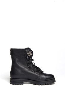 JIMMY CHOO Leather biker boots with flower accents and swarovski