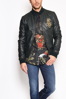 DOLCE & GABBANA Leather zipped jacket with 'Cross of Malta' patch