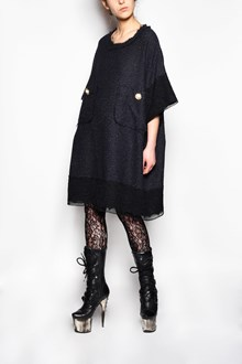 FAITH CONNEXION Crew-neck twill dress with pockets and lace inserts