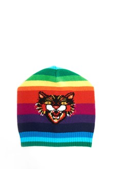 GUCCI Wool  beanie with multicolor stripes and tiger