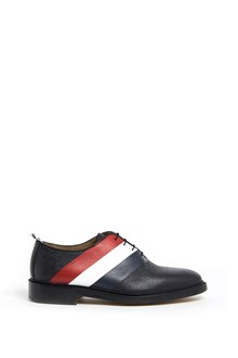 THOM BROWNE Wholecut shoes with intarsia diagonal stripe and leather,sole in pebble grain and calf leather