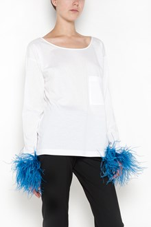 PRADA long sleeves top with ostich feathers