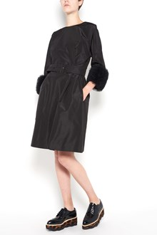 PRADA silk dress with waist belt  and tulle on cuffs