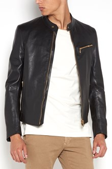 AJMONE horse leather  biker jacket with zip closure and zipped pockets