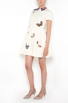 VALENTINO crepe de chine short dress with wide skirt and patches on collar and all over
