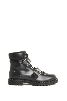 JIMMY CHOO Leather 'Breeze Flat' biker ankle boot with straps and studs