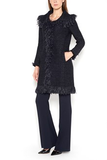 CHARLOTT Hem and v neck fringed coat in jaquard with two pockets