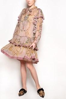 ALBERTA FERRETTI Silk long sleeved dress with frills and prints