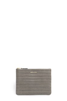 COMME DES GARÇONS Leather 'embossed stitch' zipped big pouch