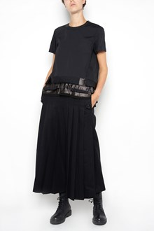 SACAI multi layers pleated  and embroidery details T-shirt