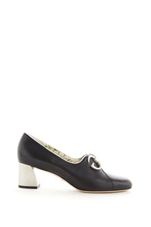 GUCCI 'Biba' calf leather pumps with metallic logo in front