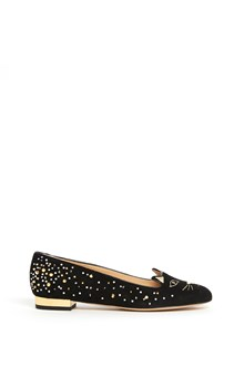 CHARLOTTE OLYMPIA 'Kitty flats' flat shoes in metallic calfskin
