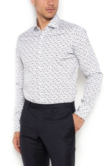 BARBA Camicia  in cotone ,polso stondato , stampa fiori  all over su base bianca