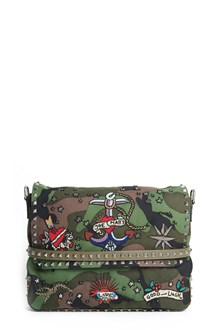 VALENTINO GARAVANI Borsa messenger in canvas con ricamo 'Tattoo'