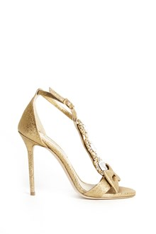 OLGANA PARIS 'Delicate' sandals in laminate leather with swarowski jewels and bow