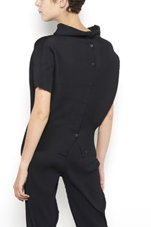 ISSEY MIYAKE CAULIFLOWER 'Dolman' stretch pleated 1/2 sleeves cardigan with buttons