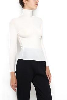 ISSEY MIYAKE CAULIFLOWER Stretch pleats basic 1/2 sleeves  t-shirt with turtle neck