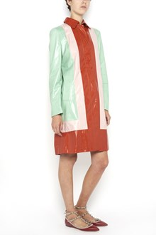 VALENTINO 'Colorblock' calf leather  long coat with waist band and buttons closure