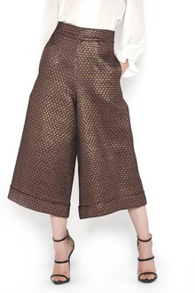 ULTRACHIC cropped lurex wide trousers with all over glittered star printed