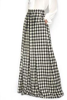 ULTRACHIC wool long damier skirt