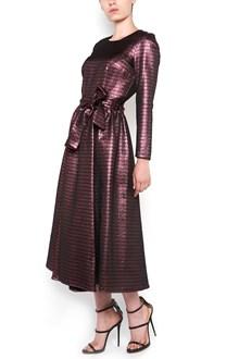 ULTRACHIC crewneck lurex long sleeves striped dress with waist belt and zip closure