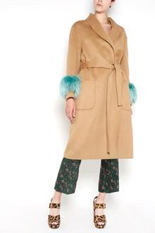 PRADA Long wool coat with fox fur cuffs
