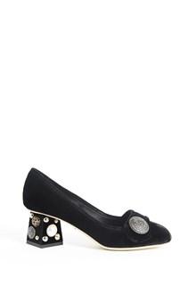 DOLCE & GABBANA velvet dècollettè with jewels applications on heels