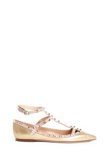 "VALENTINO GARAVANI calf leather "" rockstud"" flat shoes with studs"