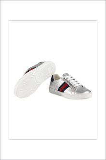 GUCCI Silver sneaker with red and blue band