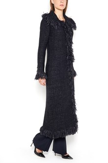 CHARLOTT Hem and v neck fringed long  coat in braided wool