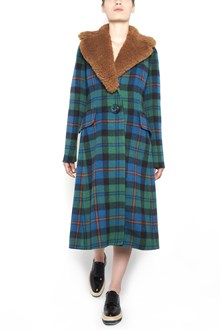 PRADA long checked coat with mutton collar