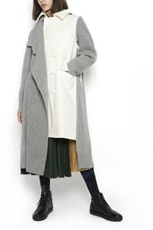 SACAI long wool cardigan with turtle neck and waist band