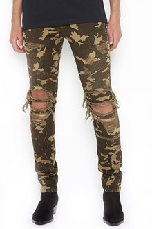 BALMAIN camouflage destroyed slim jeans