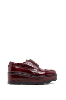 PRADA calf leather lace-up shoes with wave platform