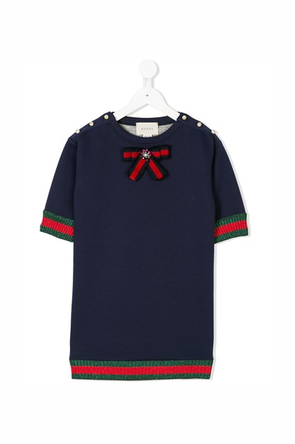 8b5aff13 GUCCI cotton dress with jewel bow on roundneck, pearls on shoulder and  glittered web on