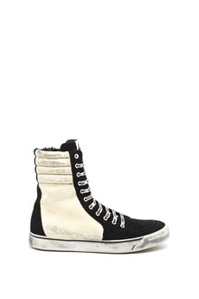 PALM ANGELS Calf leather distressed super high laced up sneaker