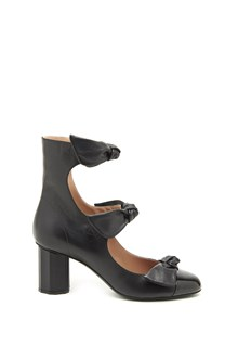 MARCO DE VINCENZO Calf leather sandals with bow and patent leather toe