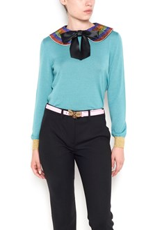 GUCCI round neck sweater with removable paillettes collar