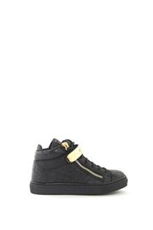 GIUSEPPE JUNIOR Leather hi-top  'Nicki Junior' sneaker with gold plate