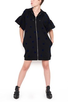 McQ ALEXANDER McQUEEN cotton sweater dress with zip and swallows blue